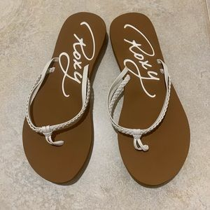Roxy Flip Flops Tan with White Braided Straps